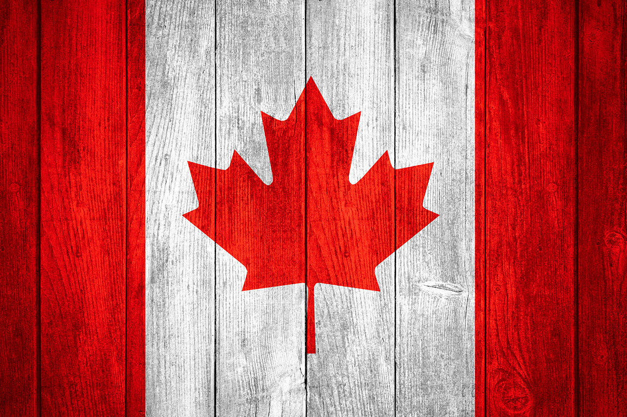 Canadian Flag painted on wood